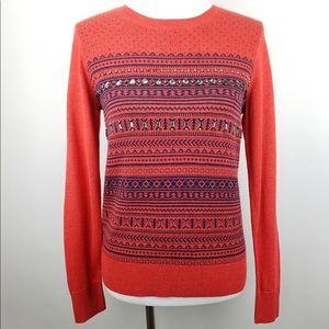 Merona Red Navy Crystal Beading Sweater Size XS
